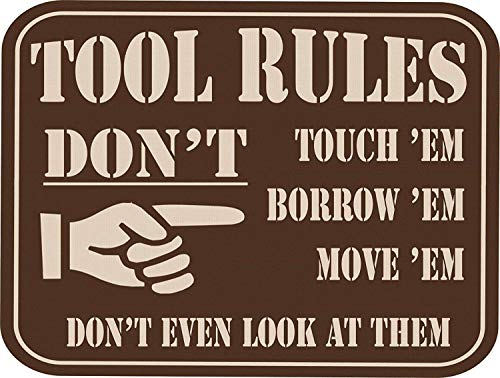 "Inventive Enterprises LLC Tool Rules Vintage Wall Decor w/Funny Quote, Unique Metal Wall Decor for Home, Bar, Pub, or Man Cave 12""x8"" Metal Tin Signs, Funny Bar Signs, Vintage Signs"