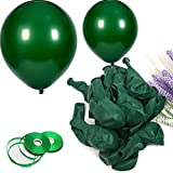 100Pack Dark Green Balloons, 12Inch Green Latex Balloons Premium Helium Quality Deep Black Dark Green Balloons For Party Supplies and Decorations(With Dark Green Ribbon)…