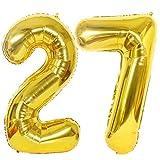 2 Globos Numero 27 Oro, Ouceanwin Gigante Foil Globos Número 27 Grande Globo de Papel de Aluminio, 40' Helio Globo Inflable para Decoración de Fiesta de Cumpleaños y Aniversario (100cm)