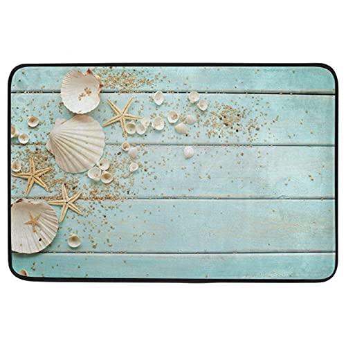 Alfombrilla de Puerta Impresión 3D Alfombra de Puerta de Concha Seashell Starfish Océano y Suelo de tablones de Madera Entrada Interior y Exterior Felpudo de baño Antideslizante