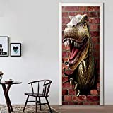 FCFLXJ Pegatinas de puerta dinosaurio 90x200cm 3D Mural Papel Póster DIY Papel autoadhesivo Impermeable Puerta Mural etiqueta Art Decals Papel tapiz de la foto para el dormitorio calcoma