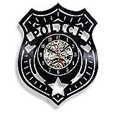 wtnhz LED Reloj de Pared de Vinilo Colorido Reloj de Pared con Disco de Vinilo de policía, diseño Moderno, Relojes de Vinilo Decorativos 3D, Reloj de Pared para Dormitorio de niños, decoración del
