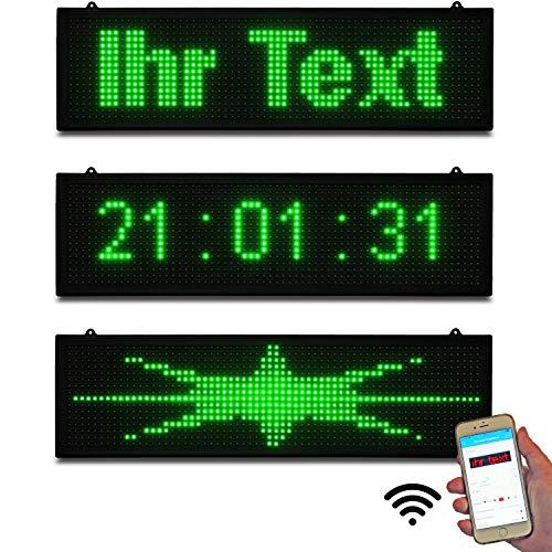 LED-Laufschrift Lauftextleiste Innen Schaufenster Leuchtschrift 67x19 cm Grün WiFi Wlan App