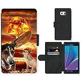 Grand Phone Cases PU Flip Carcasa Funda de Cuero Piel Cubre Case // Q05600676 Chihuahua Perro Explosión de Hongos // Samsung Galaxy Note 5 V (Not fit S5)