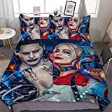 Joker and Harley Quinn Bedding Set Soft Unique Printed Pattern Design 3D Printed with 3 Pieces Bedding Set for Girls Boys 86'X70' Black (Black10)