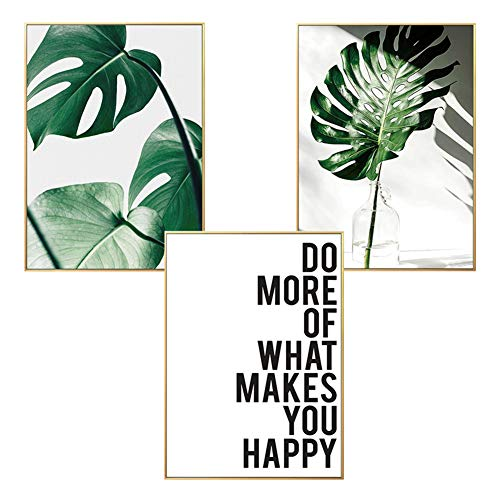 LucaSng Poster 3er Set Wandbilder, Premium Kunstposter - Palmblatt Blätter Ananas - Print Bilder Wandposter Posterset Ohne Rahmen (Stil C,30 x 40 cm)