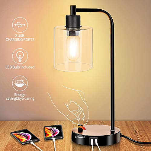 Industrial Table Lamp, 0-100% Dimmable Modern Nightstand Lamp with Dual USB Port, Glass Shade Table Lamps for Bedroom Living Room Office, 6W 2700K Dimmable LED Edison Bulb Included