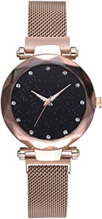 SevenAndEight Women Magnet Mesh Buckle Starry Sky Watch Geometric Surface Quartz Ladies Watches (Gold)