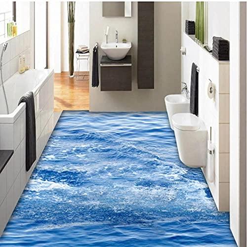 Papel pintado de azulejos de suelo 3D simple moderno, Mural de olas de mar azul, baño, dormitorio, antideslizante, impermeable, engrosado, adhesivo autoadhesivo-280cmx200cm