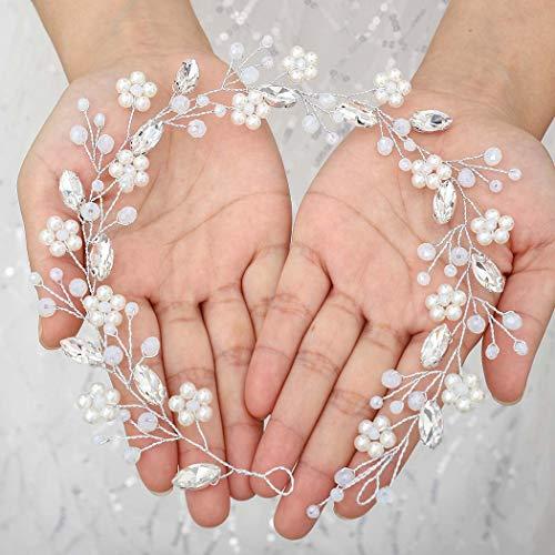 Vakkery Brautschmuck Hochzeit Perlen Haar Rebe Silber Blume Kopfschmuck Kristall Stirnband Braut Haarschmuck für Frauen Mädchen Brautjungfern