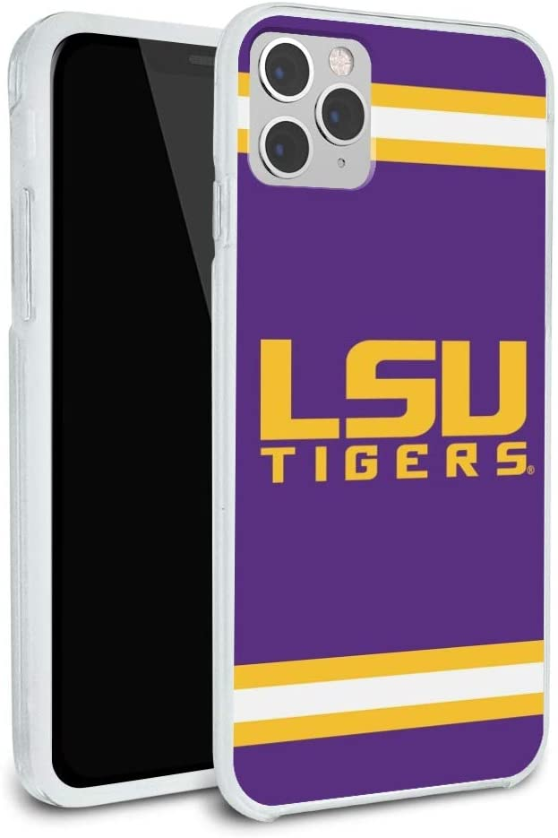 LSU Wordmark with Jersey Stripes Protective Slim Fit Hybrid Rubber Bumper Case Fits Apple iPhone 8, 8 Plus, X, 11, 11 Pro,11 Pro Max