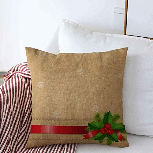 Mengghy Funda de almohada, decoración del hogar, funda de almohada, fundas de almohada, rama verde anuncio retro lazo Holly Berry gradient Nouveau Holidays Navidad Vintage Border