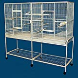 Double Birdhouse Treehouse Bird Cage and Flight Cage - 63''W x 19' D x 64''H
