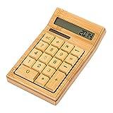 GLODEALS 電卓 12桁 ソーラー式 天然木製/竹 オフィス用品 太陽エネルギ 計算機 シンプル計算 おしゃれ