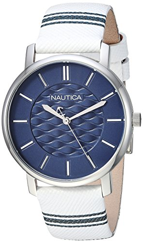 Nautica Damen-Armbanduhr Coral Gables Quarz Edelstahl Nylon Casual Uhr, Farbe: Weiß (Modell: NAPCGS002)