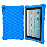 DJ&RPPQ All-New Amazon Fire HD 8 Tablet Case (Compatible with 6th/7th/8th Generation Tablets, 2016 2017 2018 Releases) Anti Slip Shockproof Light Weight Protective Cover [Kids Friendly] - Blue