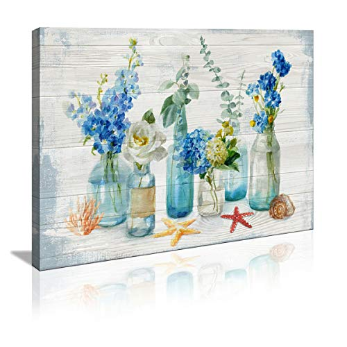Wall Art for Bathroom Watercolor Bottle Floral Wall Decor Bedroom Decor Prints Canvas Wall Art Small Framed Artwork for kitchen Walls Vintage Paintings on Canvas Prints (Blue flower, 12x16inch)