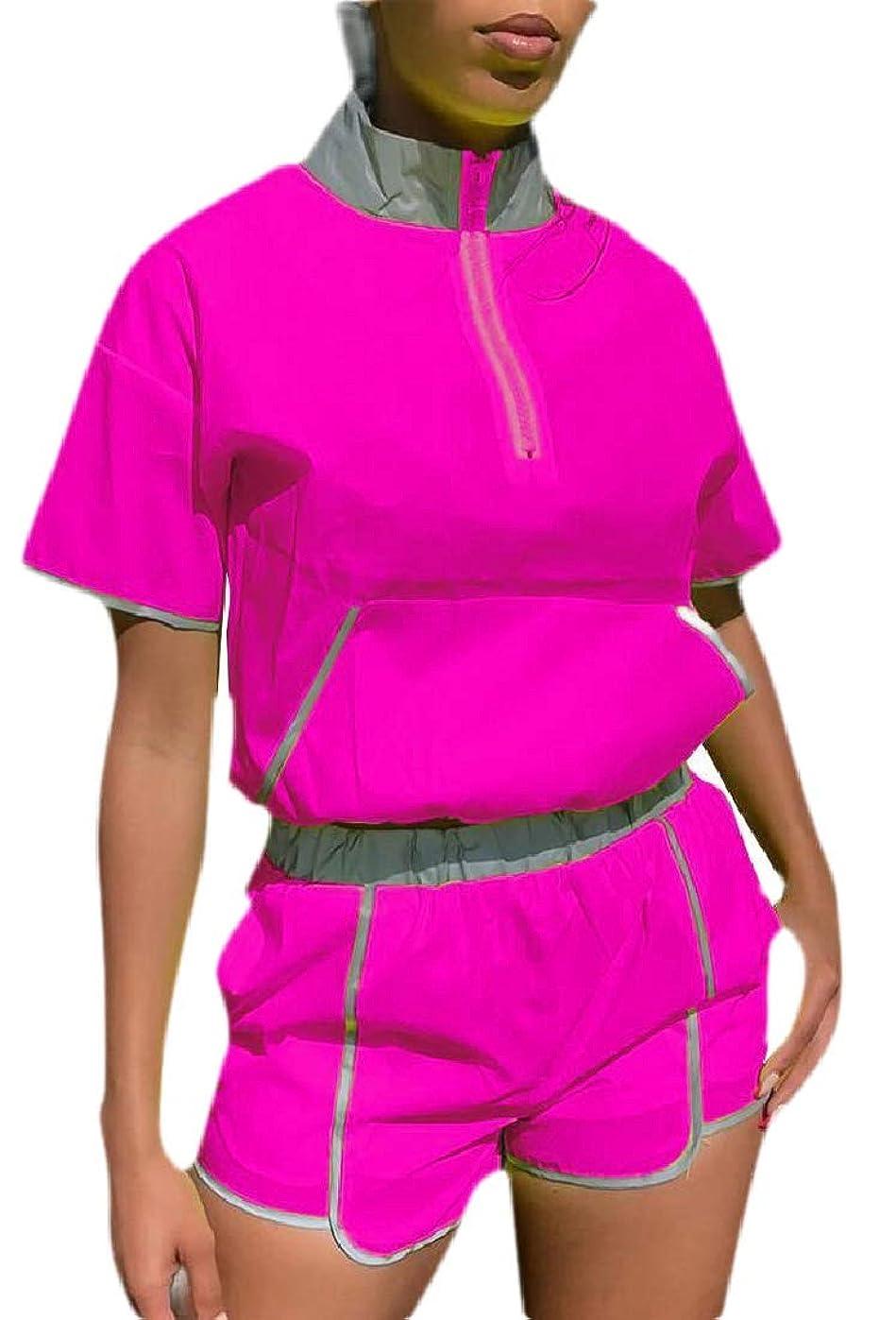 無傷ショップ用量Women 2 Piece Outfits Tracksuit Windbreaker Pullover Jacket Crop Top Shorts