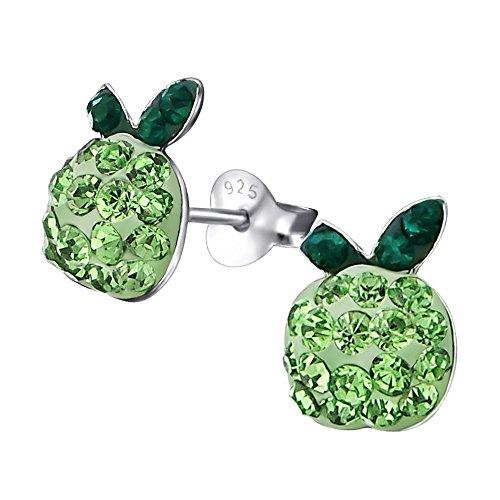 Laimons Mädchen Kids Kinder-Ohrstecker Ohrringe Apfel Obst Planze mit Glitzer grün aus Sterling Silber 925