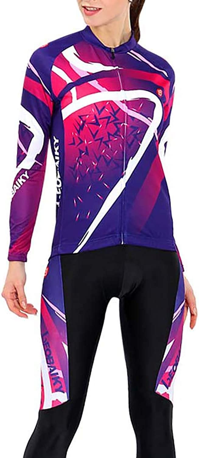 Cycling Jersey, Cycling Shorts Women Purple Bike Jacket Outdoor Sports Waterproof with Padded Quick Dry for MTB Road Bicycle,L