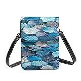 Bolso bandolera pequeño para mujer, diseño de búhos, color azul, horizontal, de piel sintética suave