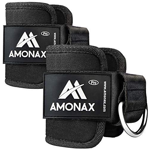 Amonax Tobillera para polea (Acolchado) para piernas y Tobillos, Correas Tobillos Gym Cable maquinas, Gimnasio, Fitness - Mujeres y Hombres (Negro, 2 Piezas)