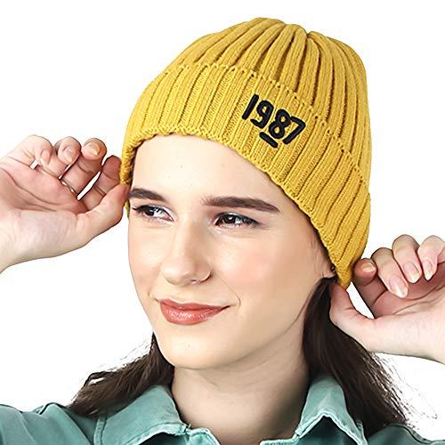 ambitieux 1987 Winter wear Woman Woolen Stylish Skull Knitted Cap/hat Skullies Beanie for Women and Girls Soft (Yellow)