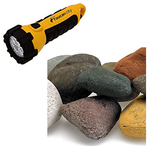 Toucan City LED Flashlight and American Fire Glass Beach Pebble Set Lite Stones - 15 Stone Set Includes 2 lbs. Small Lava Rock AFGLSTONEBP15