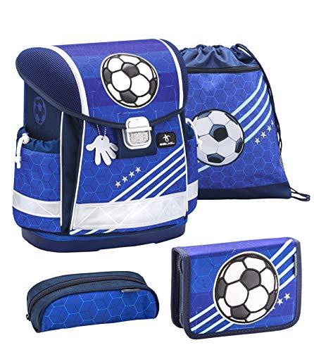 Belmil Schulranzen Set 4 - teilig ergonomischer Schulranzen Jungen 1. klasse 2. klasse 3. klasse - Super Leicht 860-950 g/Grundschule/Fußball blau (403-13 Soccer)