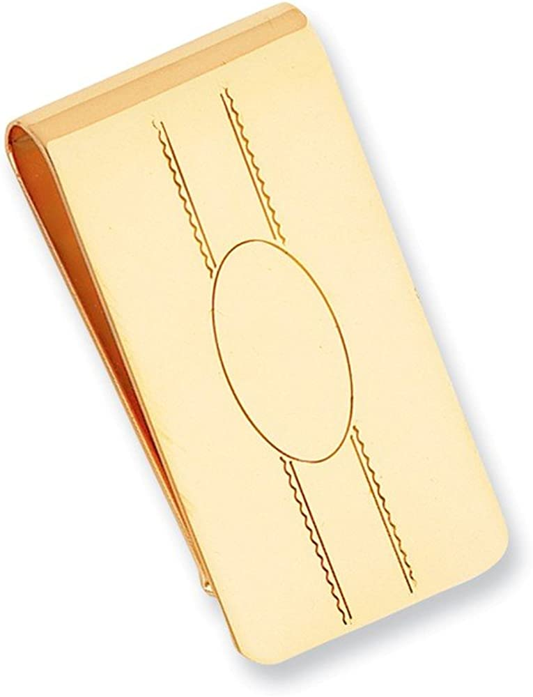 Sonia Jewels Gold-Plated Engravable Oval Center Slim Business Credit Card Holder Money Clip - 50mm x 25mm