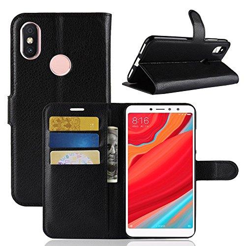 """Capa Capinha Carteira 360 Para Xiaomi Redmi S2 Tela 5.99"""" Polegadas Case Couro Sintético Flip Wallet Para Cartão, Abre E Fecha - Danet (Preto)"""
