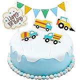 Hianjoo Decoración Personalizada para Tarta Feliz Cumpleaños, Decoración para Cupcakes para Niñas, Niños, Baby Shower, Suministros para Fiestas, Inconcluso, Conjunto de vehículos de ingeniería