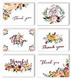 Floral Thank You Cards, Elegant Flower Thank You Notes, Blank Inside, 4×6Inches 24Pack White Greeting Cards with Kraft Envelopes and Stickers for Wedding, Bridal Shower, Baby Shower, Graduation