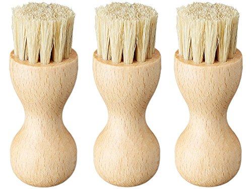 [M.モゥブレィ] シューケア 手を汚さないクリーム塗布用ブラシ ペネトレィトブラシ 豚毛(白)-3 3個