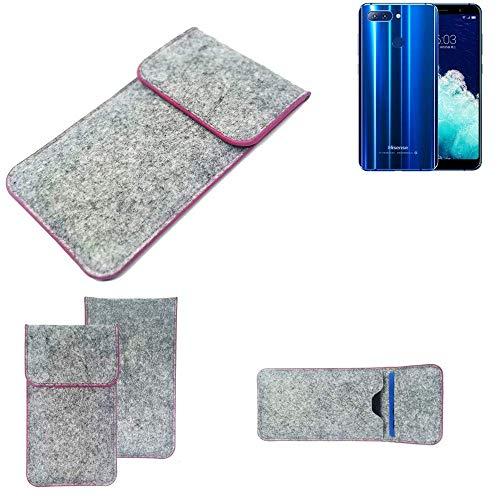 K-S-Trade Handy Schutz Hülle Für Hisense Infinity H11 Pro Schutzhülle Handyhülle Filztasche Pouch Tasche Hülle Sleeve Filzhülle Hellgrau Pinker Rand