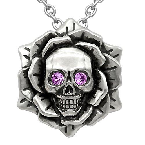 Collar de piedra natalicia con calavera rosa con cristal de Swarovski de 43 cm a 48 cm y cadena ajustable.