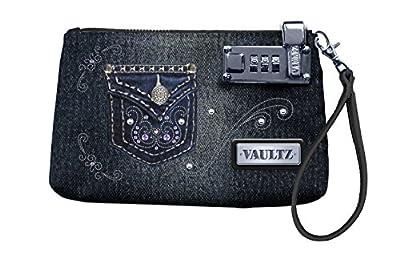 Vaultz 5.5 x 8 Inches Locking Wristlet, Black with Studs (VZ00761)