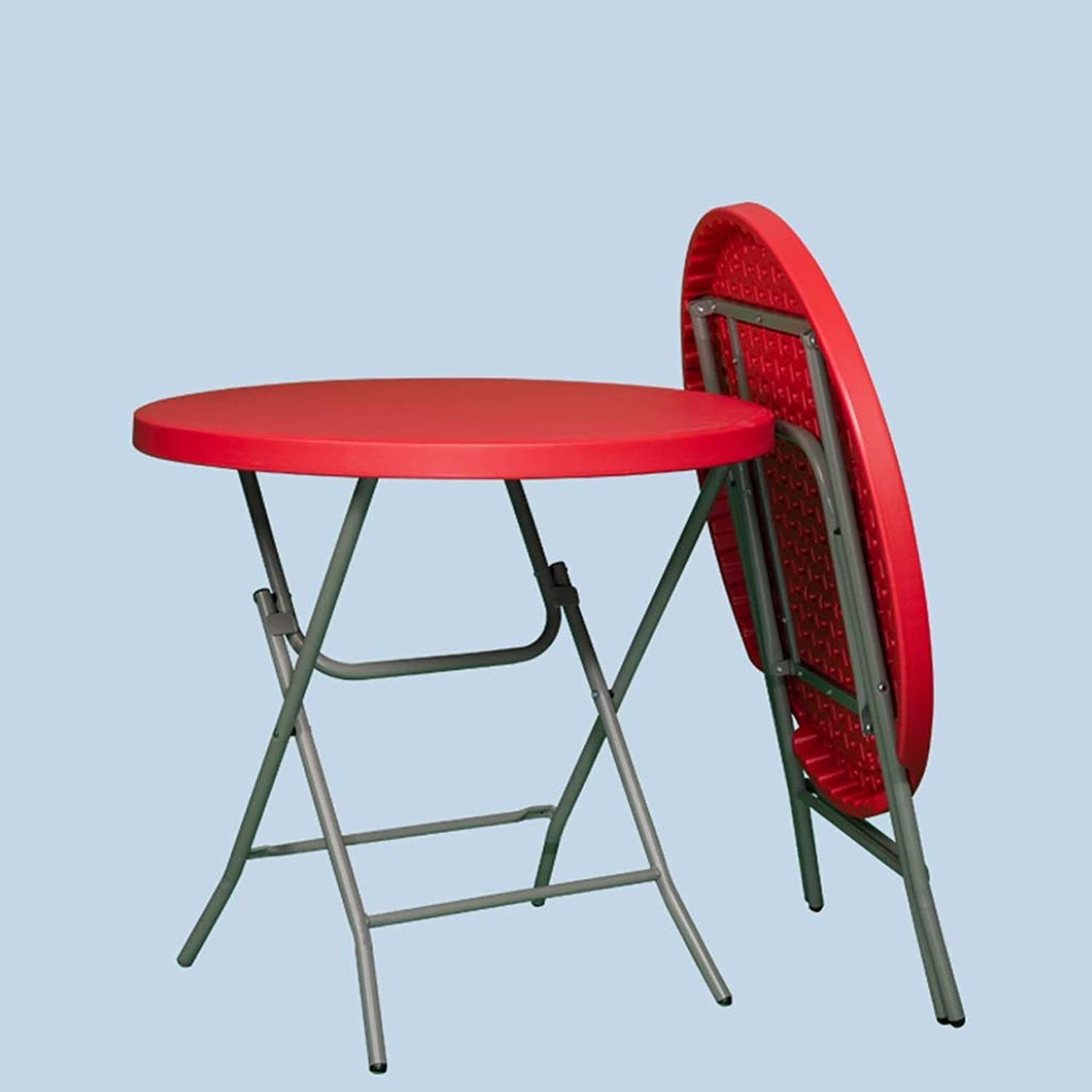 JSFQ Folding, Simple Foldable Small Round Table Small Folding Table for Household Use Small Table for Dormitory   2-4 People Folding Table (color   Red)