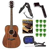 Ibanez aw54opn Artwood Dreadnought Guitarra Acústica + free DVD, guitarra fotos, correa, cuerdas), y sintonizador