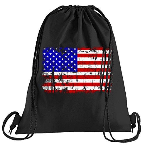 T-Shirt People USA Vintage Flagge Fahne Sportbeutel – bedruckter Beutel – eine schöne Sport-Tasche Beutel mit Kordeln