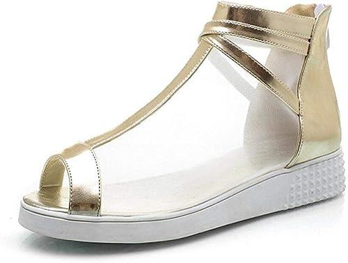 Chaussures pour Femmes d'été en Maille Sandales à la Bouche de Poisson Confortable, Shopping Quotidien école, 3cm, 34-41