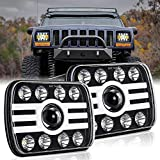 2pcs H6054 7x6 inch Rectangle LED Headlights 5x7 inch Sealed Beam Headlamp Projector Replacement Hi/Lo+DRL+Turn Signal Compatible with Jeep Wrangler YJ Cherokee XJ Chevy Pickup Truck (T002H-2pcs)