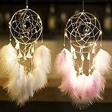 GUIFIER 2 atrapasueños de Luna Colgante, atrapasueños de Luna Rosa Blanca con Luces, Tapiz para decoración de Paredes