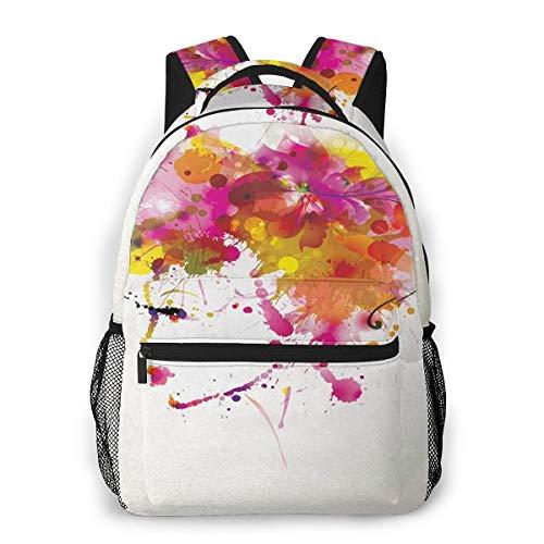 Laptop Rucksack Daypack Schulrucksack Backpack Frauen Blumenhaar Farbe, Business Taschen Freizeit Rucksack Arbeits Schultasche für Herren Männer Schüler Schule