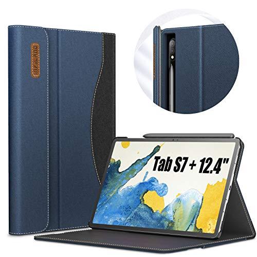 INFILAND Hülle für Samsung Galaxy Tab S7+/S7 Plus 12.4 (T970/T975/T976) 2020, Business Folio Ständer Hülle Schutzhülle Tasche, Auto Schlaf/Wach,Dunkleblau
