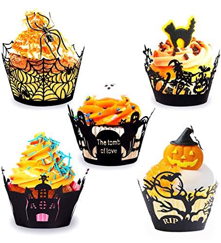 Cupcake Wrappers Halloween Cupcake Formen Papier Schwarz Für Kuchen Muffin Halloween Party Tisch Dekoration,Cupcakes papierförmchen,Muffin förmchen Papier (30 Stück)