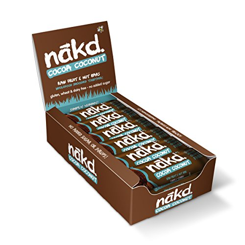 Nakd Raw Fruit and Nut Gluten Free Bars 30 - 35g(Pack of 18) (Cocoa Coconut)