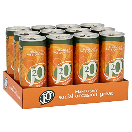 J2O Fruit Blend Juice Drink Perfect Mixer Low Calorie Orange and Passionfruit 12 x 250ml Cans, 3000 ml