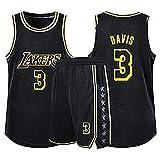 YENDZ Maglia Set Completo da Basket per Uomo, Lakers No.3 Davis, Felpa ad Asciugatura Rapida e Traspirante, Pantaloncini 3XL Black