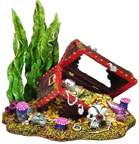 Exotic Environments Sunken Treasure Chest Aquarium Ornament, Small, 5-1/2-Inch by 4-Inch by 5-1/4-Inch